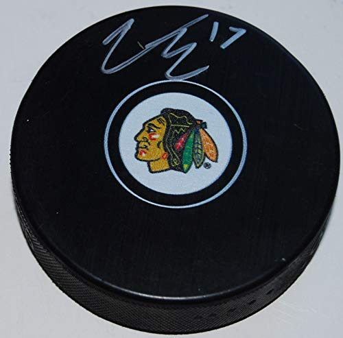 VICTOR EJDSELL signed (CHICAGO BLACKHAWKS) souvenir logo hockey puck W/COA - Autographed NHL Pucks