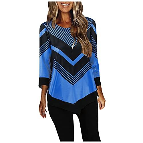 Pistaz Camiseta de manga 3/4 para mujer, diseño de rayas, estampado geométrico, elegante, camisa irregular, camisa, azul, 38