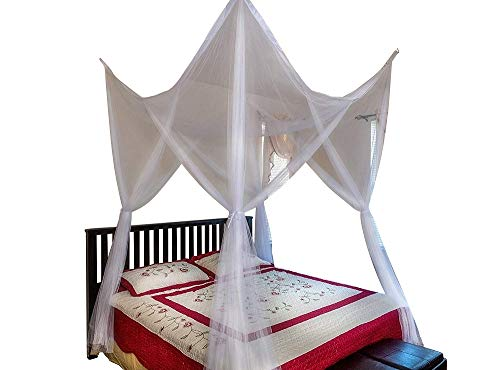 OctoRose 4 Poster Bed Canopy Netting Functional Mosquito Net Full Queen King (White)