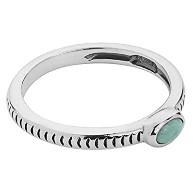American West Sterling Silver Green Variscite Gemstone Oval Stacking Ring with Notched Band - Size 08