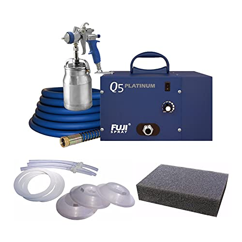 Fuji Q5 Platinum Model Quiet HVLP Turbine Spray System, T70 Spray Gun and Bottom Feed Cup with Accessories