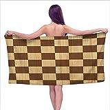 GABRI Weiße Badetücher kariert, Leere Schachbrett aus Holz scheinen Mosaik Textur Bild Schach Spiel Hobby Thema, braun Hellbraun