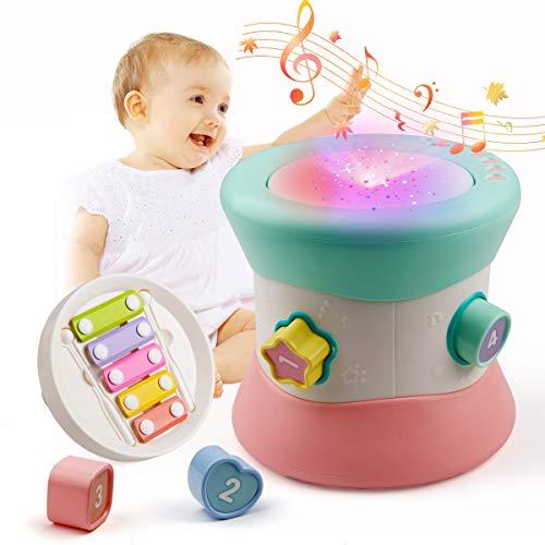 Mini Tudou Jouet musical pour bébé - Tambour multifonction - Avec xylophone - Matze créatif - Pour apprendre précoce - Pour les tout-petits et les bébés à partir de 6 mois
