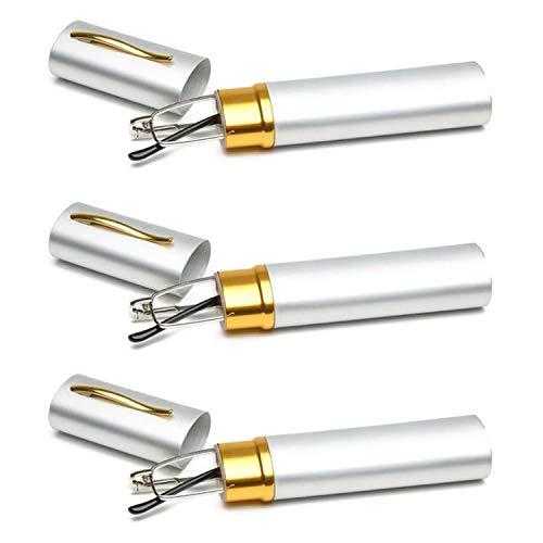 KOOSUFA Lesebrillen Herren Damen Tragbar Brillenhülle Metall Klassische Scharnier Schmal Leichte Stil Stärken lesebrille mit Etui Taschenclip Brillenetui (3 Stück Silber, 4.0)