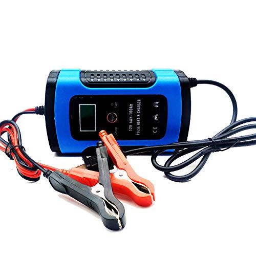 RSGK Cargador De Batería De Automóvil De 12V, Protección De Reparación De Pulso De Pantalla Digital Inteligente, Adecuada para Capacidad De Batería De Agua 60AH-400AH, Batería Seca