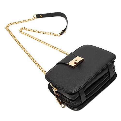 Forestfish Ladies' Black PU Leather Shoulder Bag Purse Evening Clutch Bags Crossbody Bag with long Metal Chain Strap, Black