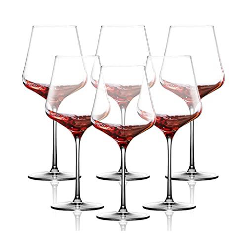 Copas de vino Copa de Vino Tinto * 6, Pareja de Restaurante, Copa de Vino de Cristal, Copa de Fiesta, Caja de Regalo, Regalos para los Amantes del Vino (Color : Clear, Size : 700ml)