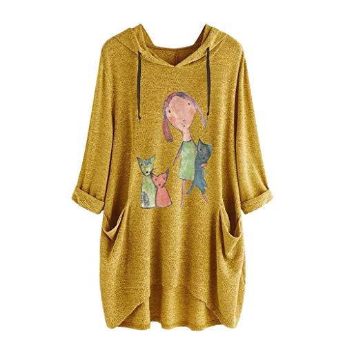TOPKEAL Jacke Mantel Damen Frauen Casual Print Lange Ärmel Seite Tasche Kapuzen Unregelmäßige Top Bluse Shirts Herbst Winter Sweatshirt Kapuzenjacke Hoodie Pullover Coats (Gelb, XL)