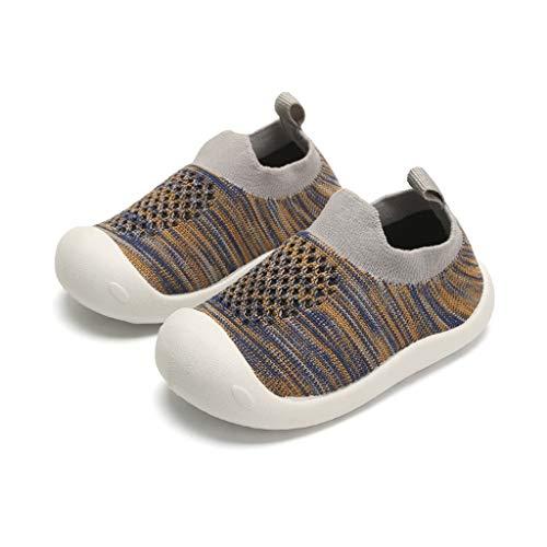 z-/uiefr Kleinkind Kleinkind Kinder Baby Mädchen Jungen Striped Mesh Sport Run Sneakers Stretch Stoff Freizeitschuhe (Grau, 20)