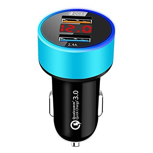 Yuwe Adaptador de cargador de automóvil, 3A 6.5-9V QC 3.0 Cargador de automóvil USB de doble puerto W Adaptador USB de luz LED 12V en el teléfono del automóvil Carga para marina, barco, motocicleta, c