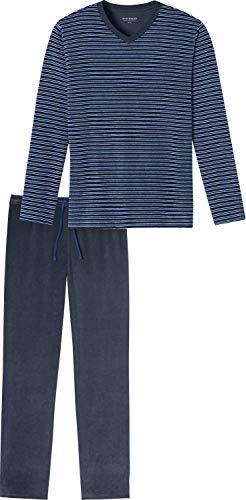 Schiesser Herren-Schlafanzug Frottee Marine Größe 50
