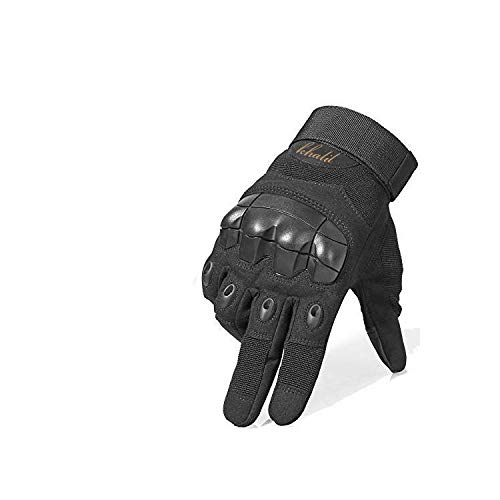 QMP Orginal Tactical Gloves for Men Military Gloves for Shooting Airsoft Paintball Motorcycle Climbing Riding Heavy Duty Work, Hunting, Protect Full Finger Touch Screen, Knuckle Gloves (Black, Large)