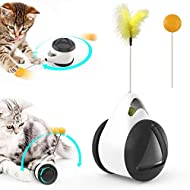 Bojafa Catnip Toy, Interactive Cat Feather Toys for Indoor Cats Hunting, Self-Balanced Swing Kitten ...