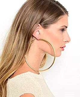 Extra Large Thick Puff Puffy 4 Inch Gold Tone Basketball Wives Hoop Earrings by Fashion Jewelry