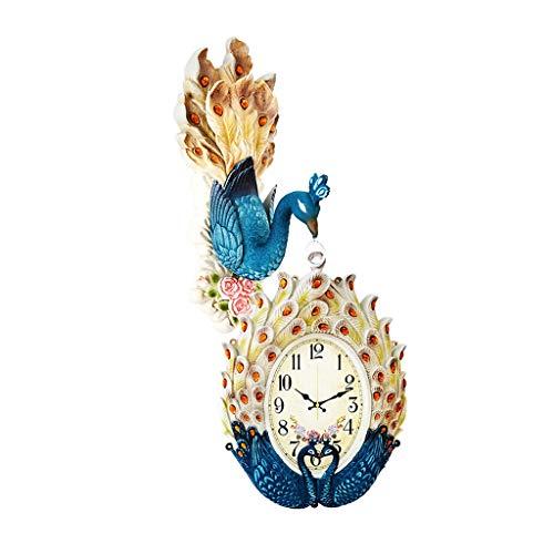xinxinchaoshi Reloj de Pared Estilo de Pavo Real Creativo Reloj de Pared de Doble Cara Sala de Estar Hogar Silencioso Cartas de Pared de Cuarzo Decorativo Relojes de Pared