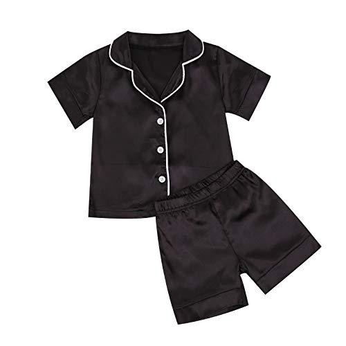 WangsCanis Pijama corto y largo con botones de raso negro para niños y niñas de edades comprendidas entre 1 y 7 años Negro 1 3-4 años