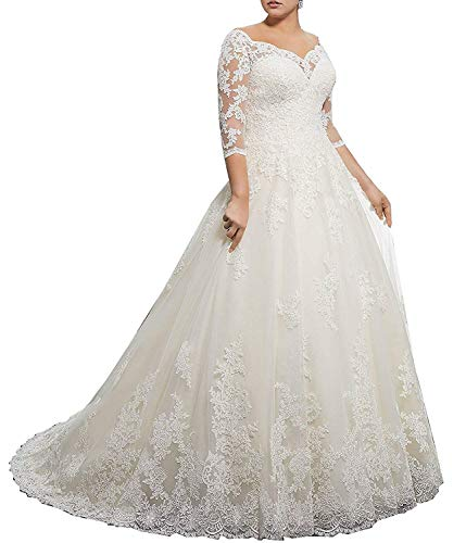 RYANTH Wedding Dresses Plus Size for Women Bride Long Sleeves Ball Gowns Lace Bridal DressRWD39 White 8