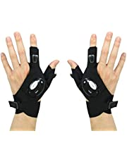 FomaTrade LED Flashlight Magic Strap Fingerless Gloves Pack 4 LED Light for Repairing in Darkness Places and Outdoor Activities Essential Equipment one Pair