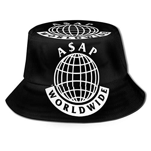 A-Sap Rocky Worldwide Unisex Bucket Hat Vintage Fisherman Hüte Reversible Packable Cap Schwarz