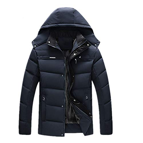 PANBOB Men Down Jacket Winter Warmth Comfortable Fashion Leisure Windproof Long-Sleeved Solid Color Classic All-Match Loose Men'S Jacket C-Navy XXL