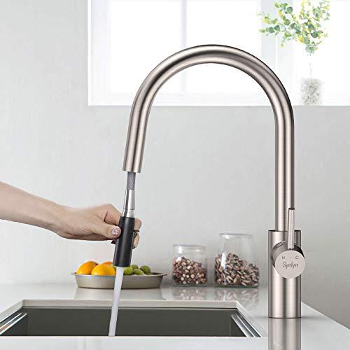 Synlyn Küchenarmatur Ausziehbar Küche Wasserhahn mit Brause 360° Schwenkbare Mischbatterie 304 Edelstahl Einhandmischer Hochdruck Spültischarmatur für Spüle - 2 Strahlarten