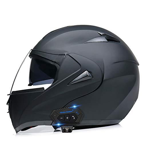 Casco Modular de Moto Casco de Moto con Bluetooth Integrado ECE Homologado para Patinete Electrico Motocicleta Bicicleta Scooter Con Doble Visera Unisex C,L(59~60cm)