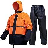 Portable Rain Suit Waterproof Lightweight Rain Gear Raincoat Jacket and pants for Men Women Adults(Orange,XXX-Large)