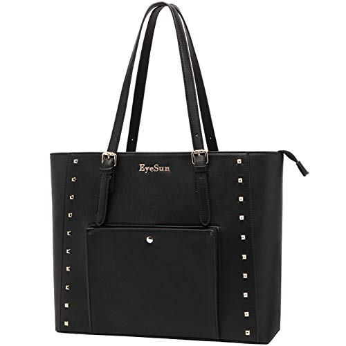15.6-Inch-Laptop-Bag-for-Women Cute Laptop Tote Bag Business Work Tote Bag with Classic Black Office School Travel Shoulder Bag