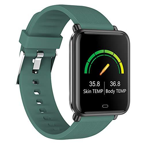LTLJX Smartwatch, Reloj Inteligente con Temperatura Corporal, Pulsómetro, Blood Pressure, Monitor de Sueño Pulsera de Actividad Podómetro para Hombre Mujer, Impermeable Táctil 1.3'',Verde
