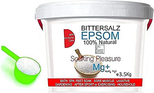 EPSOM Sels d'Epsom Magnesium ● Forme naturelle de Magnésium ● Multiusage - Alimentaire - Cuisine, SPA Beauté, Santé, Jardin, Bain de Pied Gommage ● 3.5 kg avec verre doseur
