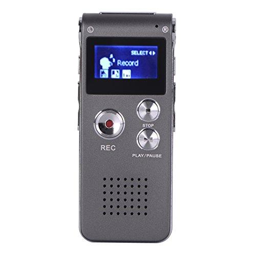 BALALALA Digitales Diktiergerät, 8GB Diktierapparat Tonaufnahmegerät HD Audiorekorder, MP3-Player, Wiederholfunktion Aufnahmegerät für Vorlesungen Meetings, Interviews, Unterricht(Eisengrau)