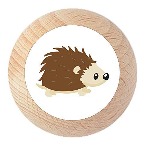 Möbelknauf Igel natur klar lackiert Holz Kinder Kinderzimmer 1 Stück Waldtiere