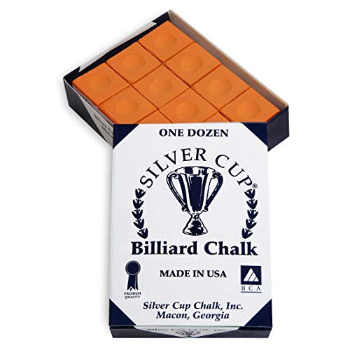 Silver Cup Billiard Chalk - ONE Dozen (Orange)