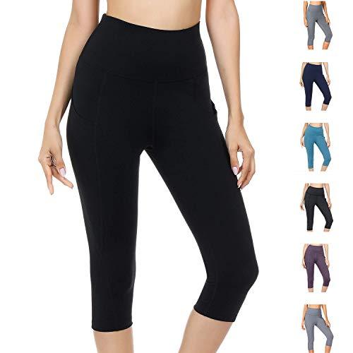 Damen Leggings Yogahosen Sporthose Tights Laufhose High Waist mit Taschen Dehnbar Jogginghose Yoga Sport Fitness Laufen(Schwarz-qf.S)