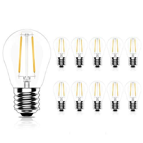Tuoplyh 10 Stück E27 LED Glühbirne 2W Ersetzt 20 Watt Glühfadenlampe,Vintage LED Filament Glühlampen,Warmweiß 2700K,CRI >80, 200LM,Nicht Dimmbar,AC 220V