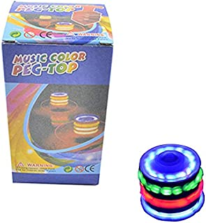 AQHXLS Musically Glowing Wooden Spinning Top, Colorful Flashing Catapult Spinning Top, Decompression Toys for Adults/Children
