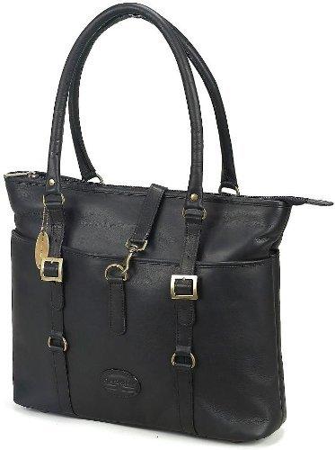 Claire Chase Ladie's Vaqueta Leather Laptop Tote Bag (Black)