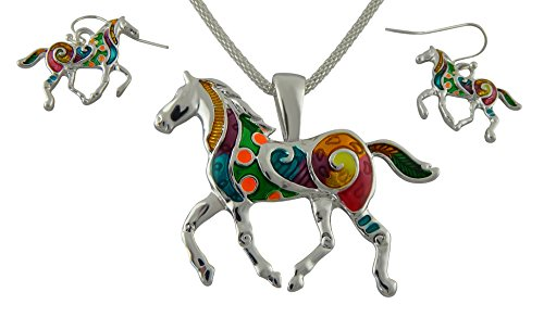 Juego de collar y pendientes para mujer con colgante en forma de caballo de Veuer, color plata/multicolor, ideal como regalo de Navidad para tu pareja o novia