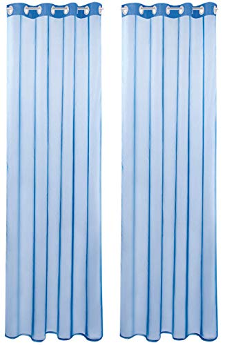 Bestlivings Transparente Blaue Gardine mit Ösen 2er Pack (B140 x L245), viele Varianten erhältlich