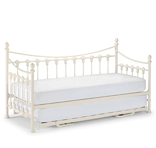Traditional Metal Daybed with Trundle - Stone White Finish - Sprung Slatted Base