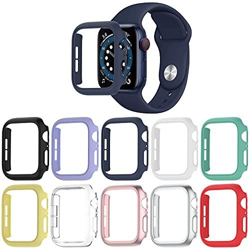 Jvchengxi [10 Piezas] Mate Funda Compatible con Apple Watch 44mm SE Series 6/5/4, Duro PC Marco Carcasa Protectora [Sin Protector de Pantalla] Anti-Choque Parachoques para iWatch 44mm