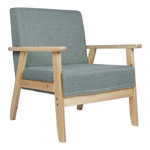 Greensen Sillón individual con marco de madera, estilo vintage, sillón reclinable de madera maciza, para sala de estar, dormitorio, sala de recepción, (carga de carga: 200 kg)