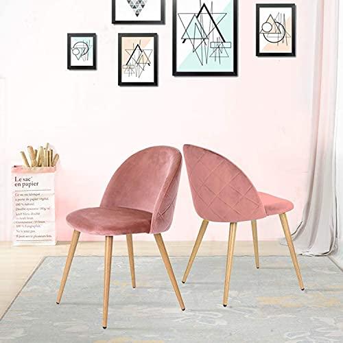 Juego de 2 sillas comedor, sillas de oficina tapizadas para el ocio, silla de salón de terciopelo suave con respaldo y patas de grano de madera de metal para cocina, dormitorio, restaurante,Rosado