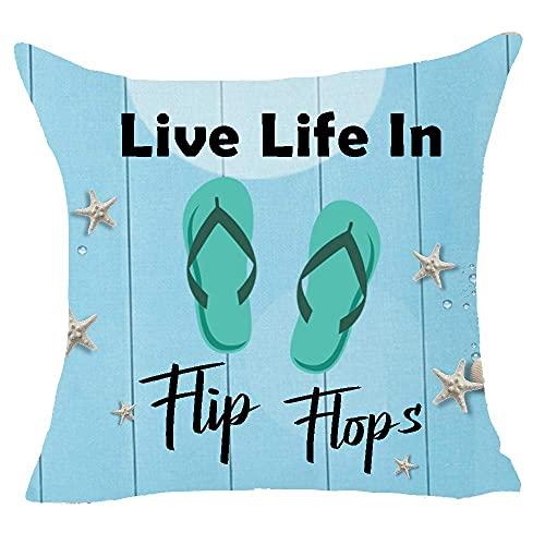 Funda de almohada cuadrada de lino y algodón, diseño de estrella de mar, 45,7 x 45,7 cm