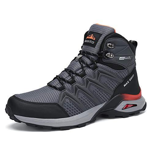 Dannto Herren Wanderschuhe Outdoor Sneaker Rutschfeste Traillaufschuh Winterstiefel für Trekking Camping Sportschuh (Grey,41)