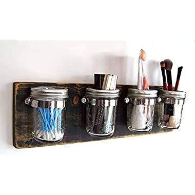 Bathroom Storage by Out Back Craft Shack: Farmhouse Decor Mason Jar Organizer - Shabby Black