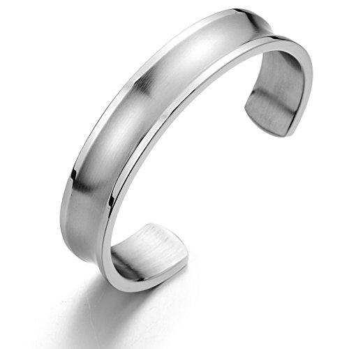 COOLSTEELANDBEYOND Klassiker Herren Armband Armreif aus Edelstahl Farbe Silber Satiniert Rillendesign