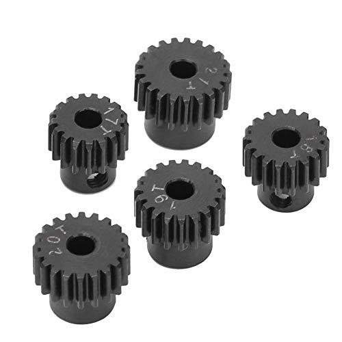 Bisheep Juego de engranajes de piñón de repuesto, engranaje de motor de piñón, 48P metal RC Hobby Car para 1/10 RC Car (color: negro)