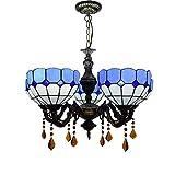 Lámpara de techo, luz de baño Lámparas de araña de 5 cabezas de estilo de Tiffany, luces colgantes de vidrio mediterráneo, sala de estar Dormitorio de cristal decoración Colgante Luz del techo con 5 l