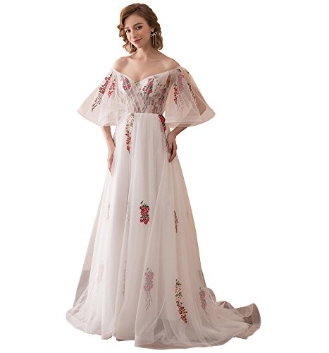 Aiyi Womens Embroidery Off Shoulder Flouncing Sleeve Wedding Dress Evening Gown US16W White